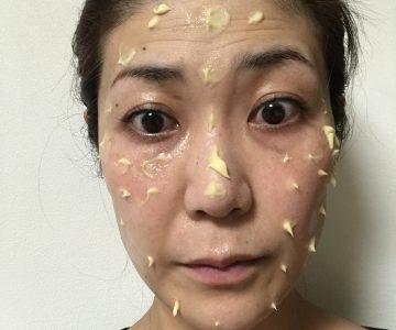 お顔にまんべんなく塗ります