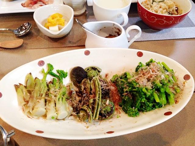 料理教室メニュー「春野菜のおひたし」